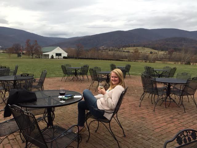 Sipping Chardonnay at King Family Vineyard